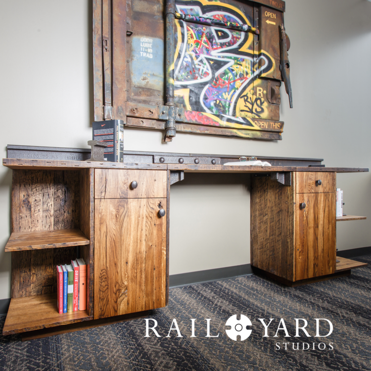 credenza books art ceo style office suite corner downtown rail yard studios